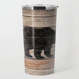 Rustic Bear Silhouette on Wood Country Art A231a Travel Mug
