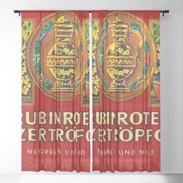 Vintage 1963 Wine Bottle Label Rubinrotes Winzertropfchen Sheer Curtain