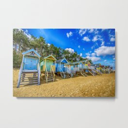 Coloured Beach Huts 2 Metal Print