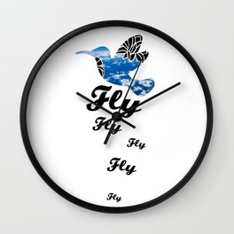 Flying Bird with Clouds Wall Clock