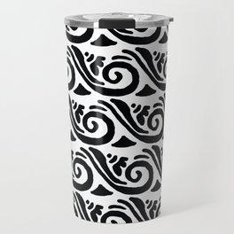 Whimsical black white abstract geometrical floral Travel Mug