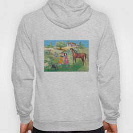 Kids on the countryside, colourfull illustration for kids Hoody