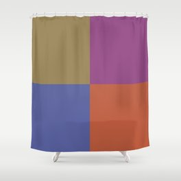 Brown Blue Purple Orange Geometric Minimal Design Shower Curtain