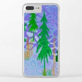 Blue In the woods Clear iPhone Case