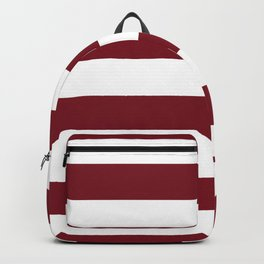 Deep Red Pear and White Wide Horizontal Cabana Tent Stripe Backpack