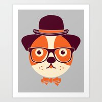 Hipster Dog Art Print