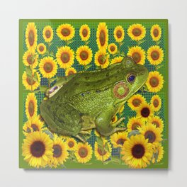 AVOCADO GREEN BOG FROG & YELLOW FLOWERS Metal Print