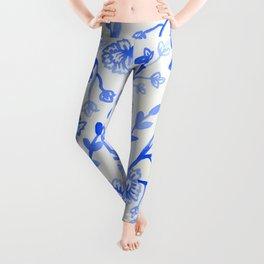 Watercolor Peonies - China Blue Leggings