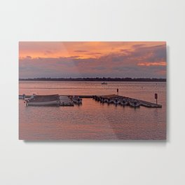 Moored Boats at sunset Metal Print