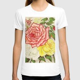 Vintage Multi Colored Rose Illustration (1886) T-shirt