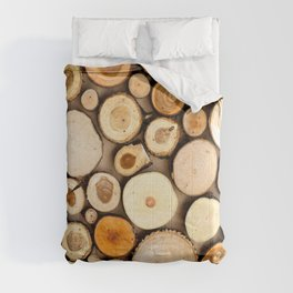 A Pattern Of Wooden Disks Comforters