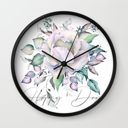 Happy Day – Pastel Rose. Wall Clock