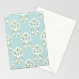 Heart Damask Ptn Gold Cream Blue Stationery Cards