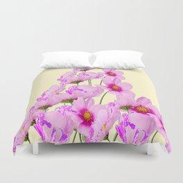 FUCHSIA PINK COSMOS FLOWERS  ON CREAM Duvet Cover
