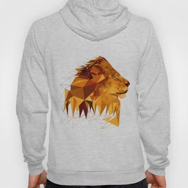 Geometric Lion Wild animals Big cat Low poly art Brown and Yellow Hoody