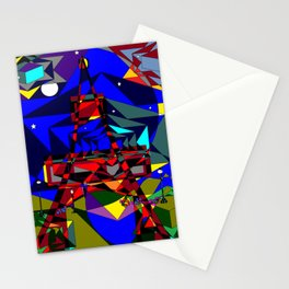 Abstract of Paris in the Spring with Stars Stationery Cards