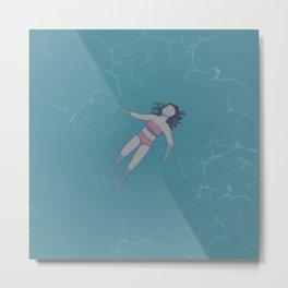 Girl Floating in the Ocean Metal Print