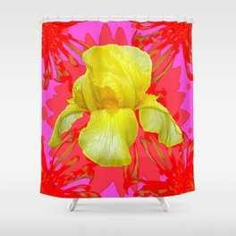 YELLOW IRIS MODERN ART RED FLORAL ABSTRACT Shower Curtain