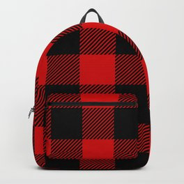 Red Lumberjack Pattern Backpack