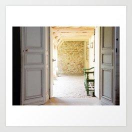 View through dove grey doors Art Print