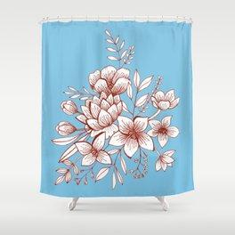 Line Flower Bouquet Shower Curtain