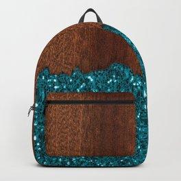 Aqua blue sparkles broken rustic brown wood Backpack