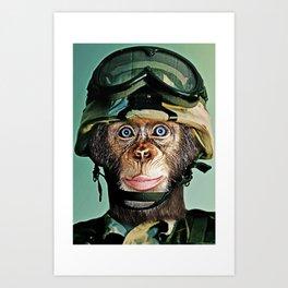 Monkey Soldier Art Print