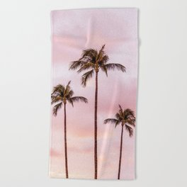 Palm Tree Photography Landscape Sunset Unicorn Clouds Blush Millennial Pink Beach Towel