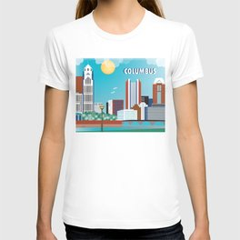 Columbus, Ohio - Skyline Illustration by Loose Petals T-shirt