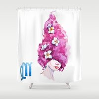 virgo Shower Curtains featuring Virgo by Aloke Design