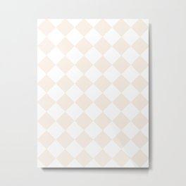 Large Diamonds - White and Linen Metal Print