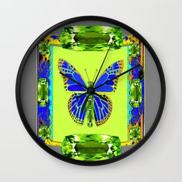 BLUE & GREEN  BUTTERFLY PERIDOT GEMMED GEOMETRIC Wall Clock
