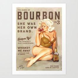 """The Babes Of Bourbon"" Pretty Blonde Pin Up Girl Art Art Print"