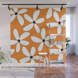 Happy Flowers Orange Wall Mural