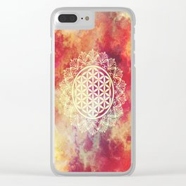 Flower Of Life (Sunset Skies) Clear iPhone Case