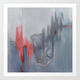 No. 15 Grey and Coral Ombre Pastel Abstract Painting  Art Print