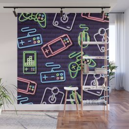 Neon Video Game Accessories Pattern Wall Mural