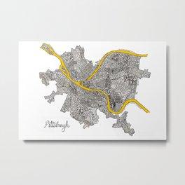 Pittsburgh Neighborhoods | 3 Gold Rivers Metal Print