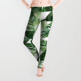 Green leaf watercolor pattern Leggings