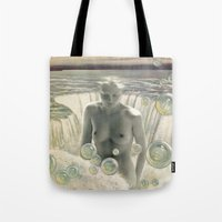 bath Tote Bags featuring THE BATH by Julia Lillard Art
