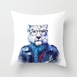 Watercolor Hipster Cat Throw Pillow