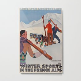 PLM Wintersports in the french alps Vintage Travel Poster Metal Print