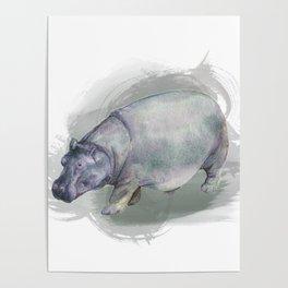 Watercolor Hippo Poster