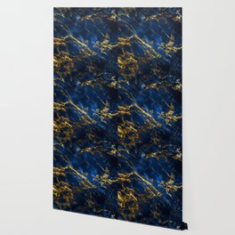 Exquisite Blue Marble With Luxury Gold Veins Wallpaper