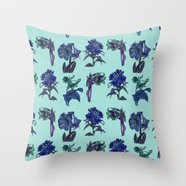 Botanical Flower Pattern   Blue Throw Pillow