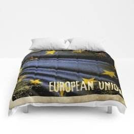Grunge sticker of European Union flag Comforters