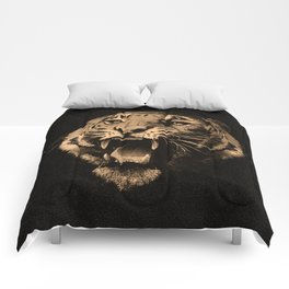 Vintage Tiger in black Comforters