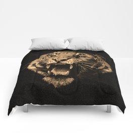 Vintage Tiger in black Comforters