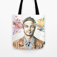 james franco Tote Bags featuring Mind Blown::James Franco by James Murlin