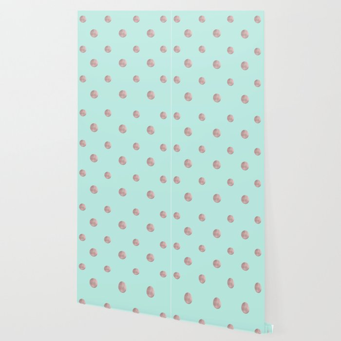 Happy Polka Dots Rose Gold On Mint 1 Decor Art Society6 Wallpaper